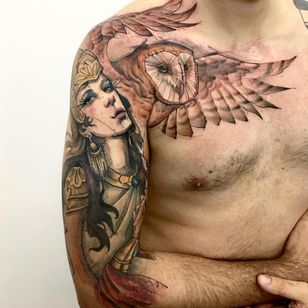 Athena e sua coruja #LincolnLima #brazilianartist #brasil #brazil #tatuadoresdobrasil #sketchstyle #watercolor #aquarela #athena #deusa #Goddess #coruja #own #mitologiagrega #greekmythology