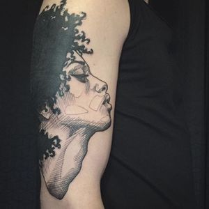 Sketchy, illustrative tattoo of the profile of a woman, by L'oiseau (via IG—loiseautattoo) #Sketchy #Illustrative #Blackwork #Loiseau