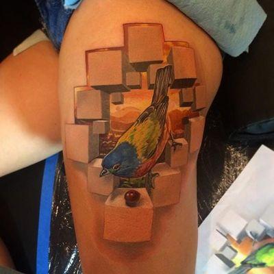 Um passarinho comendo uma frutinha de boa #JesseRix #realismo #realism #3d #gringo #geometric #geometrica #passaro #bird #ave #fruta #fruit #montanha #hill