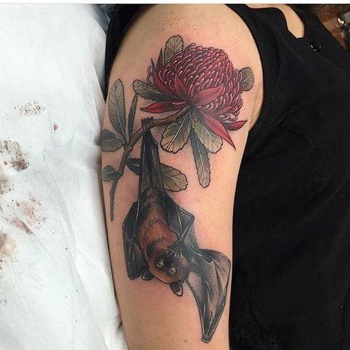 Waratah and fruit bat tattoo by Ellie Thompson. #megabat #fruitbat #bat #flower #waratah #flower #EllieThompson