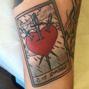 3 of Swords tarot card by Kaitlin Greenwood. #neotraditional #KaitlinGreenwood #tarot #card #tarotcard #heart #sword