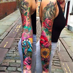 Full sleeve tattoo by Matt Webb #MattWebb #rose #neotraditional #roses #dinosaur #unicorn #poppy #sunflower #sleeve