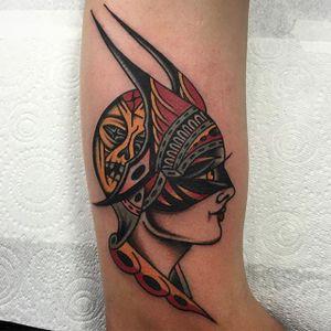 A devilish lady head by Hugh Sheldon (IG—hughsheldontattoo). #HughSheldon #ladyhead #mask #skull #traditional