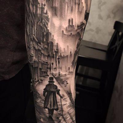 The Ripper Walks Alone by Andy Blanco #AndyBlanco #blackwork #blackandgrey #illustrative #realism #realistic #buildings #cityscape #London #Victorian #man #fog #smoke #window #tattoooftheday