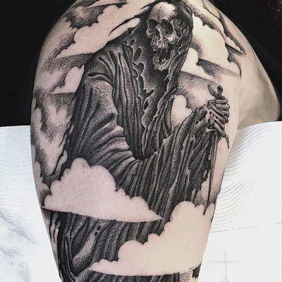 Reaper tattoo by Christopher Jade #ChristopherJade #skulltattoos #blackandgrey #reaper #clouds #death #knife #sword #cloak #skull #bones #skeleton #hell #tattoooftheday