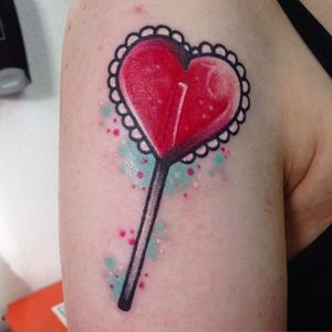 Lollipop heart tattoo by Martin Fletcher. #candy #sweet #lollipop