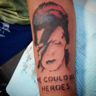 Screenprint-stylized We Could Be Heroes (via IG—lilsteffieb) #Bowie #DavidBowie #WeCouldBeHeroes #Heroes #PlayItAgain #lyricstattoo