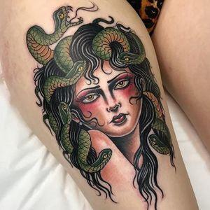 Medusa tattoo by Elmo Teale #ElmoTeale #ladytattoos #color #newtraditional #traditional #portrait #medusa #snakes #serpent #reptile #deity #goddess #face #eyes #lips