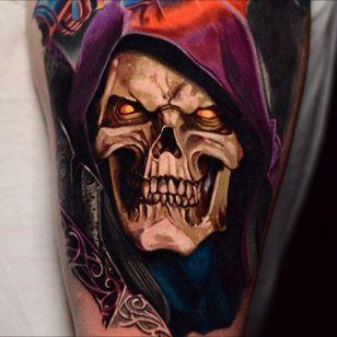 Skeletor tattoo by Ben Ochoa. #BenOchoa #colorrealism #popculture #skeletor #mastersoftheuniverse #heman
