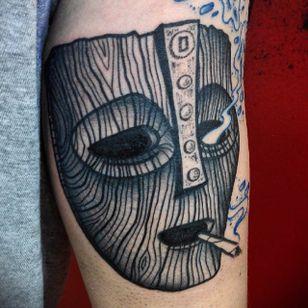 The Mask Tattoo by Jaffa Wane #themask #themasktattoo #blackwork #blackworktattoo #blackworkartist #darkart #JaffaWane