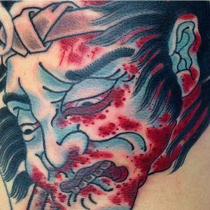 A gruesome and bloody severed head tattoo done by Ben O'Grady. #BenOGrady #japanesetattoo #traditionaltattoo #severedhead #namakubi
