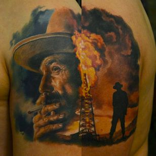 There Will Be Blood tattoo by Den Yakovlev #DenYakovlev #therewillbeblood #paulthomasanderson