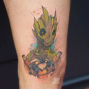 Groot Tattoo by Russell Van Schaick #groot #groottattoo #groottattoos #guardiansofthegalaxy #guardiansofthegalaxytattoo #disney #marvel #marveltattoo #movietattoo #movietattoos #filmtattoo #RusselVanSchaick