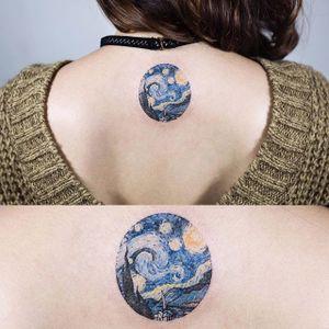 Tiny Starry Night, by Sol Tattoo (via IG—soltattoo) #microtattoo #smalltattoo #tinytattoo #TattooRoundUp