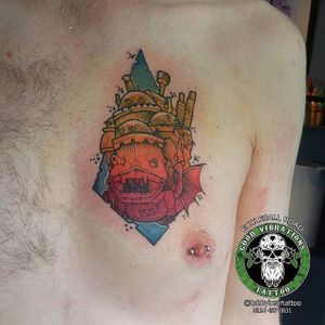 Howls Moving Castle Tattoo by Toby Burr #howlsmovingcastle #howlsmovingcastletattoo #howlsmovingcastletattoos #studioghibli #studioghiblitattoo #anime #fantasytattoo #fantasytattoos #movie #animated #animatedtattoos #TonyBurr