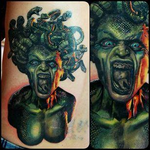 Badass Medusa tattoo by Justin Buduo. #realism #colorrealism #JustinBuduo #portrait #Medusa