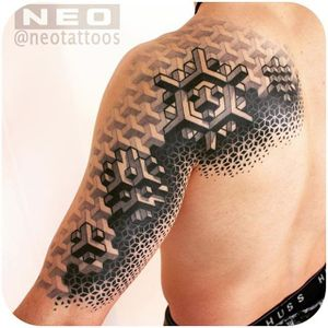 @neotattoos #tattoodo #geometric #blackandgrey #opticalillusion #neotattoos