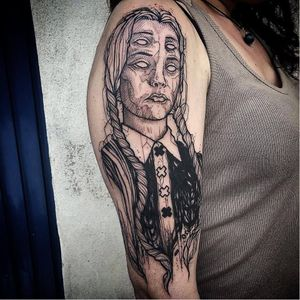 Wednesday Addams tattoo by Ergo Nomik #ErgoNomik #blackwork #wednesdayaddams