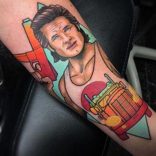 Kurt Russell Tattoo by Chad Newsom #kurtrussell #kurtrussellportrait #kurtrussellmovie #movie #film #actor #ChadNewsom