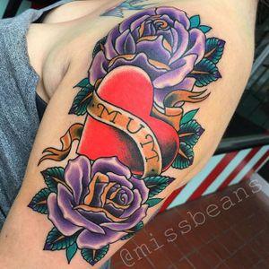 Heart Tattoo by Jessie Beans #heart #hearttattoo #colorfultattoo #traditional #traditionaltattoo #boldtattoos #brigthtattoos #JessieBeans