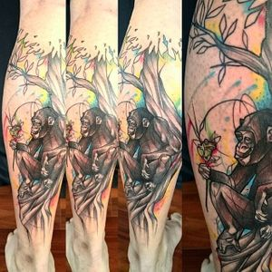Bonobo Tattoo by Loreen2l #watercolor #watercolortattoo #sketch #sketchtattoo #watercolorsketch #sketchwatercolor #abstractwatercolor #Loreen2L