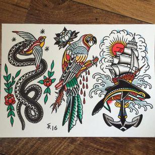 Traditional tattoo flash by Sam Ricketts, photo from Sam's Instagram. #flash #flashsheet #traditional #oldschool #ship #snake