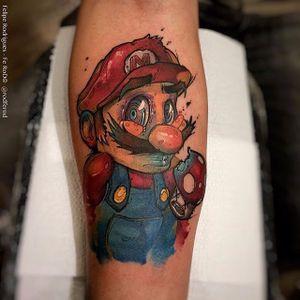 Super Mario World tattoo by Rodrigo Felipe. #supermario #videogame #RodrigoFelipe #watercolor
