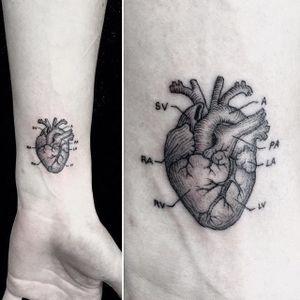 Fine Line Anatomical Heart Tattoo #FineLine #MicroTattoos #BlackandGrey #BangBangNYC #SanghyukKo #micro #blackwork