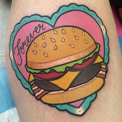 Burgers are forever by Shell Valentine (via IG-shell_valentine_tattoo) #kawaii #girly #colorful #traditional #food #ShellValentine
