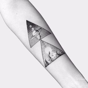 Planets by Fedor Nozdrin #FedorNozdrin #blackwork #linework #dotwork #mountains #planets #shapes #triangle #saturn #sun #stars #galaxy #solarsystem #small #tattoooftheday