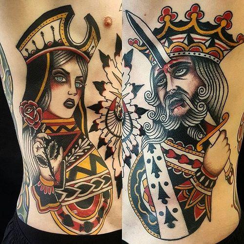 King and Queen Tattoo by Jesper Jørgensen #kingandqueen #kingandqueentattoo #traditional #king #queen #traditionaltattoo #oldschool #oldschooltattoo #darkart #darktraditional #JesperJorgensen