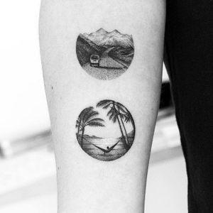 Micro tattoos made by Amanda Piejak #AmandaPiejak #blackandgrey #micro #dotwork #beach #palm #ocean #hammock #mountain #road #car #tattoooftheday