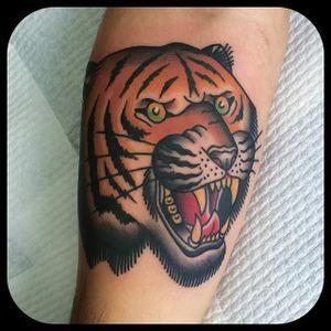 Tiger snarl. (via IG - leonienewtattoos) #LeonieNew #Traditional #TraditionalTattoo #tiger