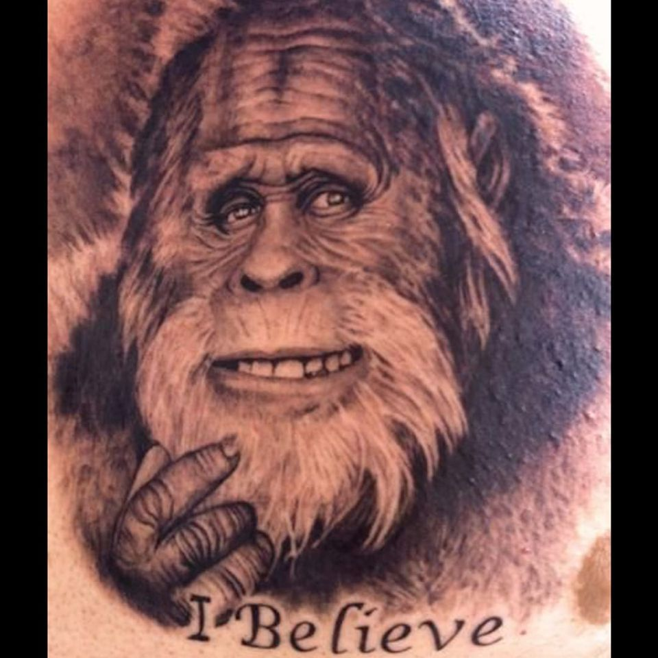 An awesome black and grey shoutout to Harry and the Hendersons by Pepper (IG—pepperspicy). #Bigfoot #blackandgrey #portraiture #Sasquatch #Yeti