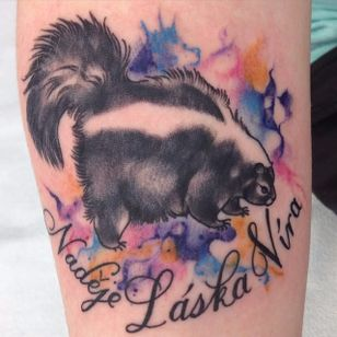 Skunk Tattoo by Arley Macdonald #Skunk #SkunkTattoo #AnimalTattoo #WildlifeTattoos #ArleyMacdonald