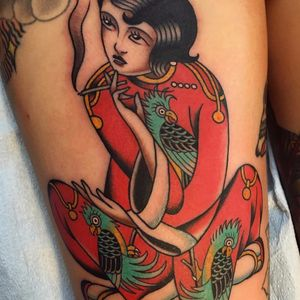 Smokin' lady by Gregory Whitehead #gregorywhitehead #greggletron #oriental #traditional #mashup #color #cigarette #smoke #lady #pinup #parrot #tattoooftheday