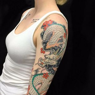 Haku inspired sleeve by Yutaro aka Warriorism #Yutaro #warriorism #haku #spiritedaway #studioghibli #Japanese #cherryblossoms #dragon #clouds #color #tattoooftheday