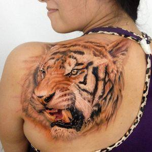 Tiger tattoo by Kobay Kronik. #realism #colorrealism #tiger #KobayKronik
