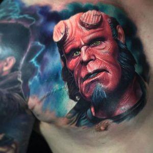 Hellboy comic tattoo by Paul Acker. #Hellboy #darkhorse #comics #graphicnovel #character #colorrealism #PaulAcker
