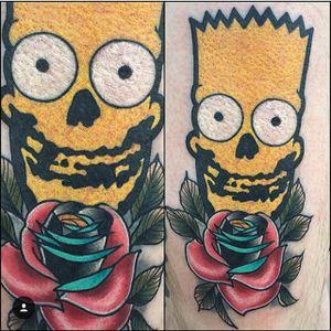 Bart Simpson is given the Misfits treatment by Jay Joree (via IG-jayjoree) #bartsimpson #thesimpsons #misfitsinspired #rose #neotraditional #color #JayJoree