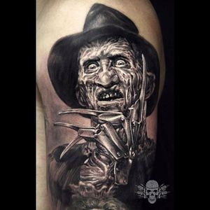 Freddy Krueger Tattoo by Javier Antunez @Tattooedtheory #JavierAntunez #Tattooedtheory #Blackandgrey #Realistic #FreddyKrueger #horror #realism
