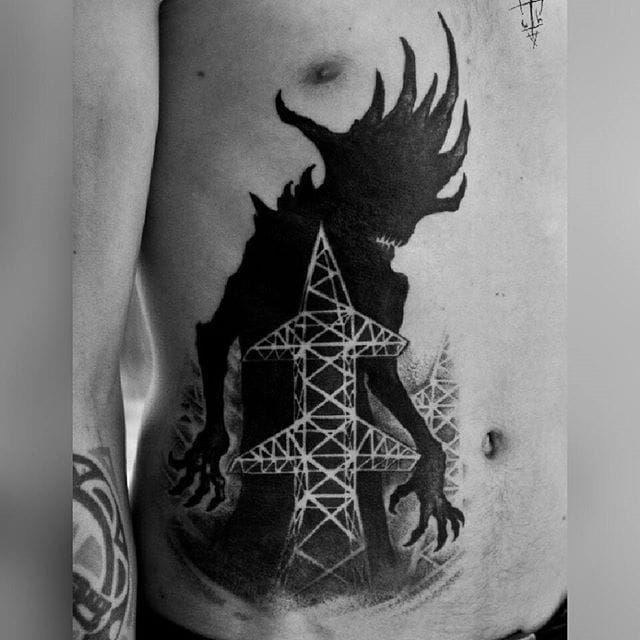 Massive shadow monster tattoo by Sergei Titukh. #SergeiTitukh #blackwork #creepy #nightmare #creature #spooky #dark #monster