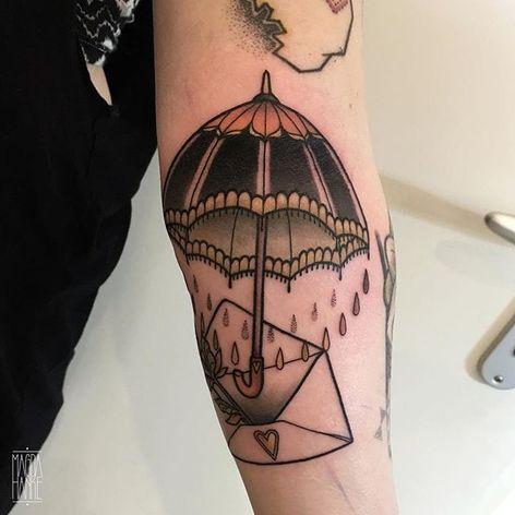 Umbrella Tattoo by Magda Hanke #umbrella #umbrellatattoo #neotraditional #neotraditionaltattoo #neotraditionaltattoos #neotraditionalartist #MagdaHanke