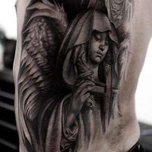 Realistic angel tattoo #NicoNegron #blackandgrey #angel #angeltattoo #realistic