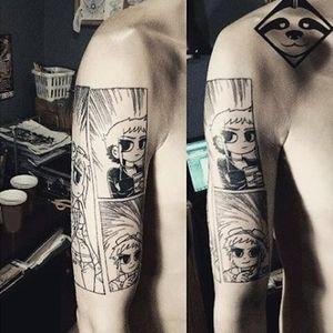Scott Pilgrim vs. the World tattoo by Leniwiec Pro. #scottpilgrimvstheworld #scottpilgrim #comics #graphicnovel #film #cultfilm #popculture #comicbook #blackwork