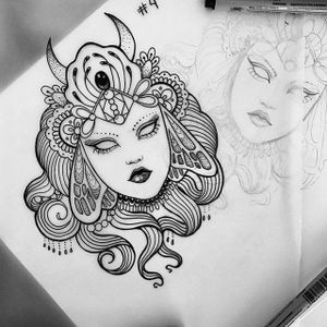 One of Lavriv's signature ethereal blackwork ladies. Photo via IG- anka.tattoo. #ankalavriv #sessions #blackwork #tattooartist #blackiristattoo #illustrative #ladyhead