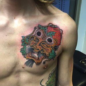 Okina Mask on the chest by Marco Biondi #OkinaMask #NohMask #Japanesetattoo #MarcoBiondi