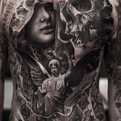 Insane bodysuit by Joey Boon #Joeyboon #blackandgrey #realism #realistic #hyperrealism #skull #death #hell #virginmary #angel #feathers #wings #church #stainedglass #bodysuit #heaven #religious #tattoooftheday