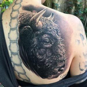 Bison Tattoo by Ben Kaye #bison #realism #blackandgrey #blackandgreyrealism #portrait #BenKaye
