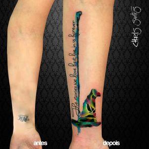 Chapeu Seletor por Chris Santos! #ChrisSantos #ChapeuSeletor #HarryPotterTattoo #HarryPotter #TatuagemHarryPotter #tatuadoresbrasileiros